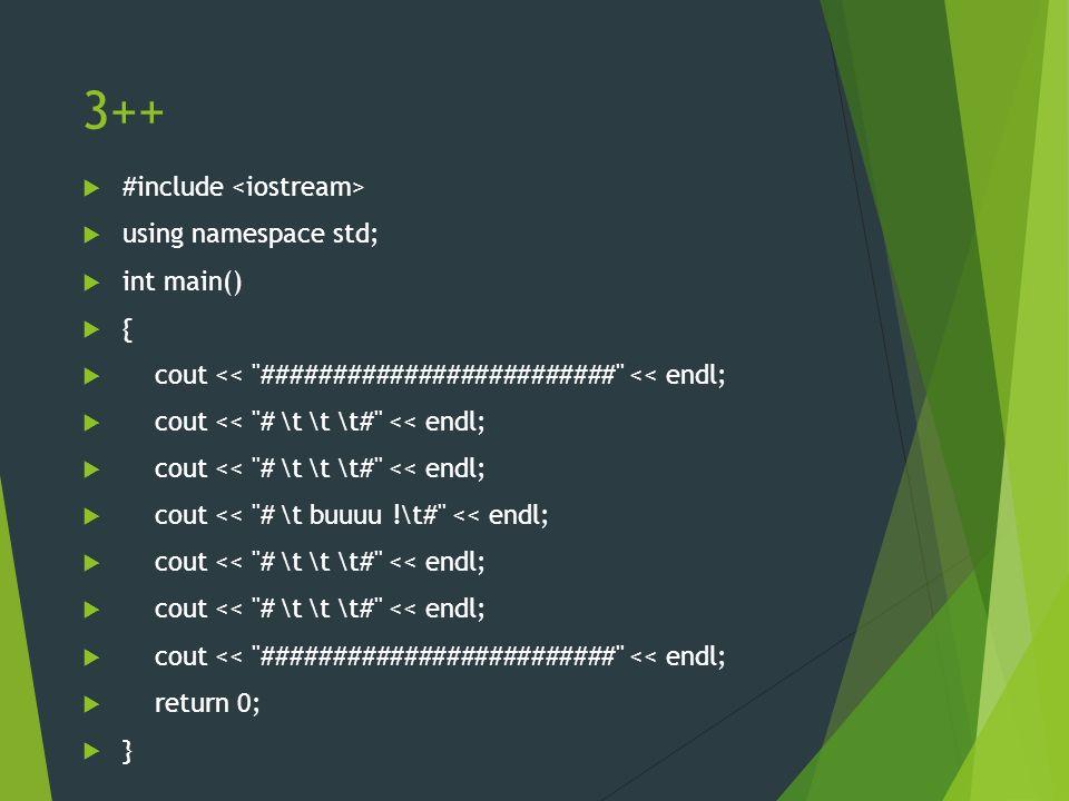 Szósty program: switch #include int main() { int liczba; std::cout << Podaj liczbe: ; std::cin >> liczba; switch(liczba) { case 2: std::cout << dwa << std::endl; break; case 1: std::cout << jeden << std::endl; break; case 3: std::cout << trzy << std::endl; break; default: std::cout << ani jeden, ani dwa, ani trzy << std::endl; break; } return 0; }
