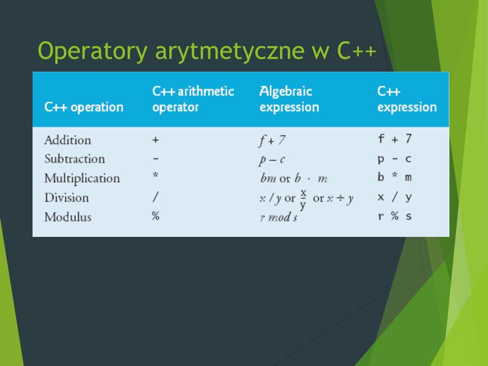 Operatory arytmetyczne w C++