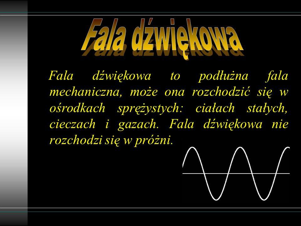 Fala dźwiękowa to podłużna fala mechaniczna, może ona rozchodzić się w ośrodkach sprężystych: ciałach stałych, cieczach i gazach.