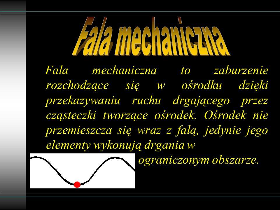 Fala mechaniczna to zaburzenie rozchodzące się w ośrodku dzięki przekazywaniu ruchu drgającego przez cząsteczki tworzące ośrodek.