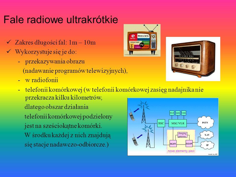 Fale radiowe ultrakrótkie Zakres długości fal: 1m – 10m Wykorzystuje się je do: -przekazywania obrazu (nadawanie programów telewizyjnych), -w radiofonii -telefonii komórkowej (w telefonii komórkowej zasięg nadajnika nie przekracza kilku kilometrów, dlatego obszar działania telefonii komórkowej podzielony jest na sześciokątne komórki.
