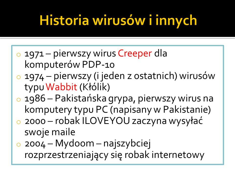o 1971 – pierwszy wirus Creeper dla komputerów PDP-10 o 1974 – pierwszy (i jeden z ostatnich) wirusów typu Wabbit (Kłólik) o 1986 – Pakistańska grypa, pierwszy wirus na komputery typu PC (napisany w Pakistanie) o 2000 – robak ILOVEYOU zaczyna wysyłać swoje maile o 2004 – Mydoom – najszybciej rozprzestrzeniający się robak internetowy