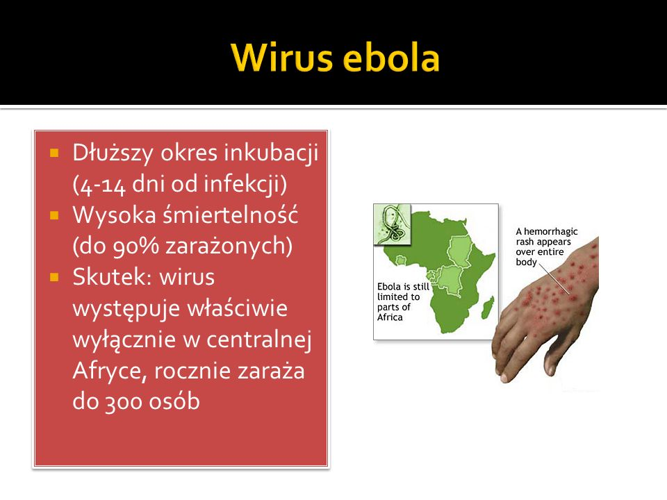  Dłuższy okres inkubacji (4-14 dni od infekcji)  Wysoka śmiertelność (do 90% zarażonych)  Skutek: wirus występuje właściwie wyłącznie w centralnej Afryce, rocznie zaraża do 300 osób  Dłuższy okres inkubacji (4-14 dni od infekcji)  Wysoka śmiertelność (do 90% zarażonych)  Skutek: wirus występuje właściwie wyłącznie w centralnej Afryce, rocznie zaraża do 300 osób