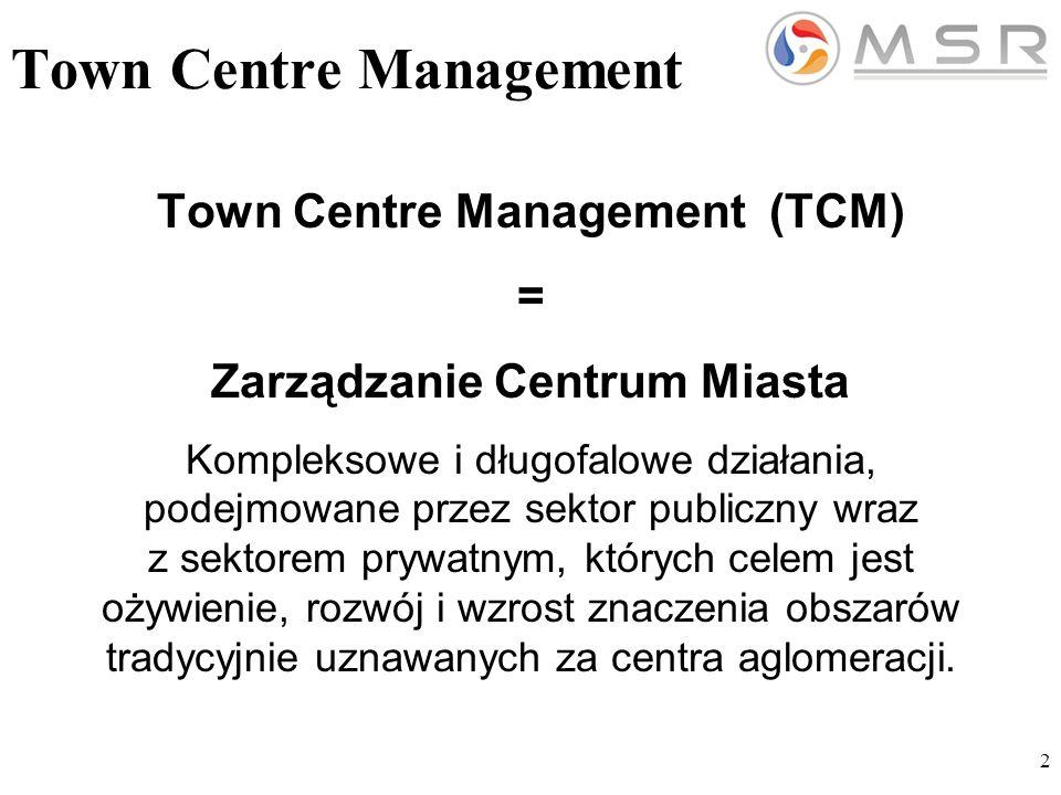 2 Town Centre Management Town Centre Management (TCM) = Zarządzanie Centrum Miasta Kompleksowe i długofalowe działania, podejmowane przez sektor publiczny wraz z sektorem prywatnym, których celem jest ożywienie, rozwój i wzrost znaczenia obszarów tradycyjnie uznawanych za centra aglomeracji.