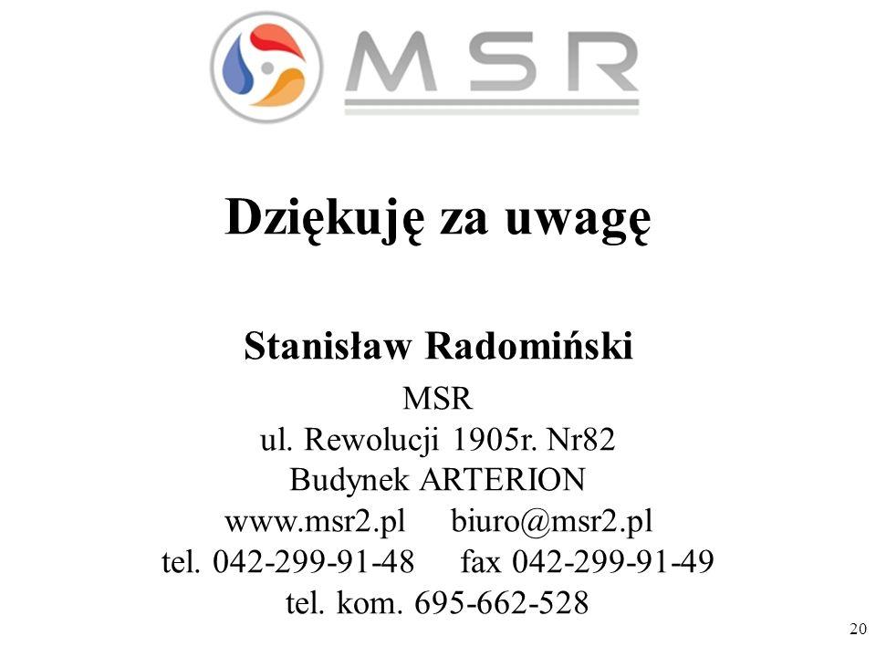 20 Dziękuję za uwagę Stanisław Radomiński MSR ul. Rewolucji 1905r.