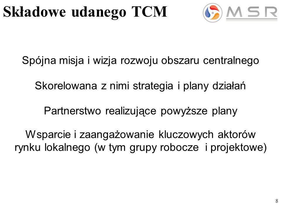 8 Składowe udanego TCM Spójna misja i wizja rozwoju obszaru centralnego Skorelowana z nimi strategia i plany działań Partnerstwo realizujące powyższe plany Wsparcie i zaangażowanie kluczowych aktorów rynku lokalnego (w tym grupy robocze i projektowe)