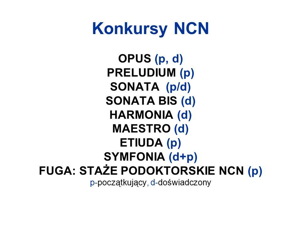 Konkursy NCN OPUS (p, d) PRELUDIUM (p) SONATA (p/d) SONATA BIS (d) HARMONIA (d) MAESTRO (d) ETIUDA (p) SYMFONIA (d+p) FUGA: STAŻE PODOKTORSKIE NCN (p) p-początkujący, d-doświadczony