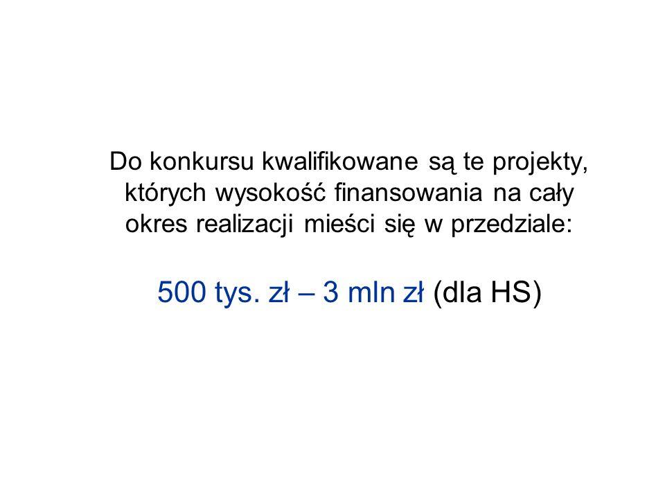Do konkursu kwalifikowane są te projekty, których wysokość finansowania na cały okres realizacji mieści się w przedziale: 500 tys. zł – 3 mln zł (dla