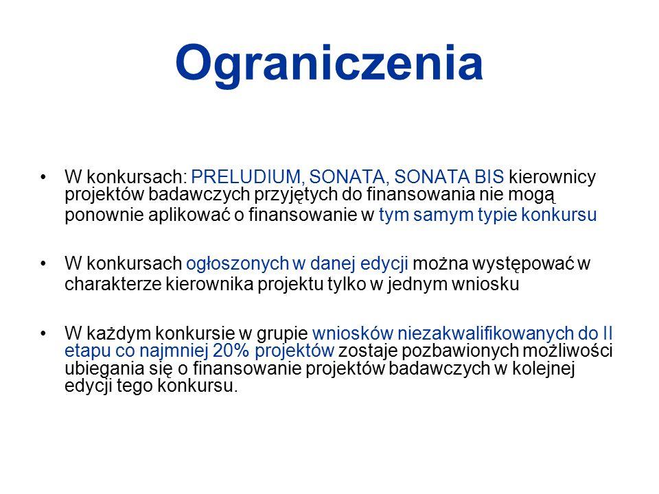 Ograniczenia W konkursach: PRELUDIUM, SONATA, SONATA BIS kierownicy projektów badawczych przyjętych do finansowania nie mogą ponownie aplikować o fina