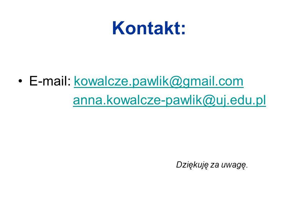 Kontakt: E-mail: kowalcze.pawlik@gmail.comkowalcze.pawlik@gmail.com anna.kowalcze-pawlik@uj.edu.pl Dziękuję za uwagę.