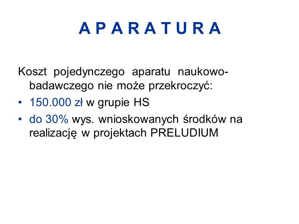 A P A R A T U R A Koszt pojedynczego aparatu naukowo- badawczego nie może przekroczyć: 150.000 zł w grupie HS do 30% wys.