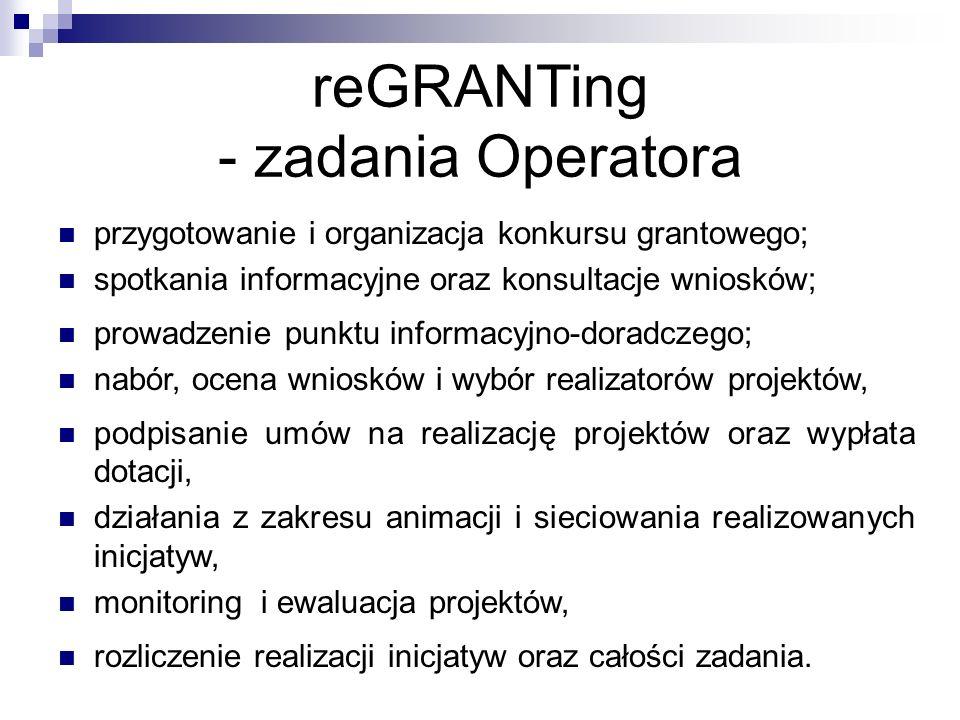 reGRANTing - zadania Operatora przygotowanie i organizacja konkursu grantowego; spotkania informacyjne oraz konsultacje wniosków; prowadzenie punktu informacyjno-doradczego; nabór, ocena wniosków i wybór realizatorów projektów, podpisanie umów na realizację projektów oraz wypłata dotacji, działania z zakresu animacji i sieciowania realizowanych inicjatyw, monitoring i ewaluacja projektów, rozliczenie realizacji inicjatyw oraz całości zadania.