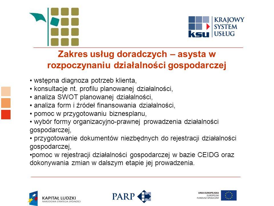 Logo ośrodka KSU Zakres usług doradczych – asysta w rozpoczynaniu działalności gospodarczej wstępna diagnoza potrzeb klienta, konsultacje nt.