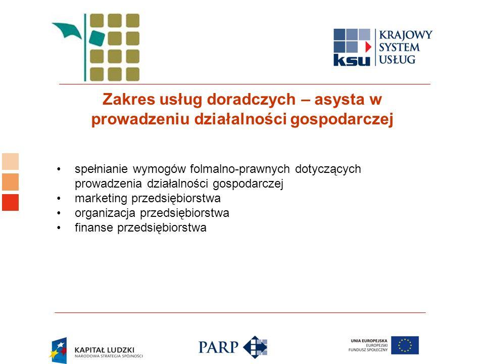 Logo ośrodka KSU Zakres usług doradczych – asysta w prowadzeniu działalności gospodarczej spełnianie wymogów folmalno-prawnych dotyczących prowadzenia