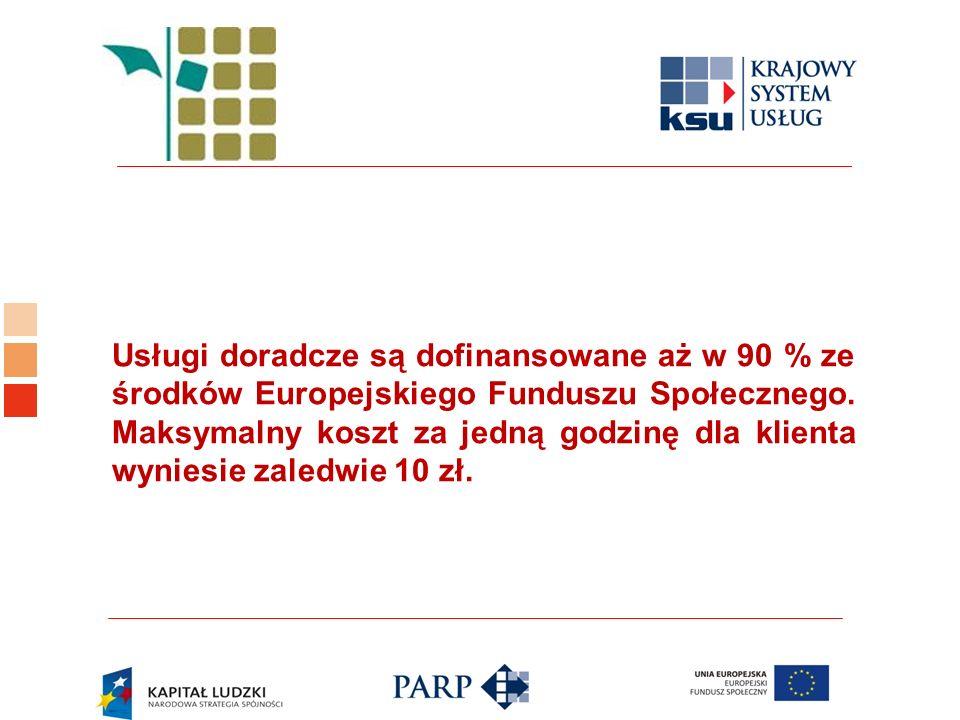 Logo ośrodka KSU Usługi doradcze są dofinansowane aż w 90 % ze środków Europejskiego Funduszu Społecznego. Maksymalny koszt za jedną godzinę dla klien