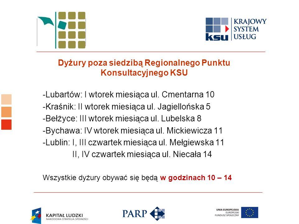 Logo ośrodka KSU Dyżury poza siedzibą Regionalnego Punktu Konsultacyjnego KSU -Lubartów: I wtorek miesiąca ul.
