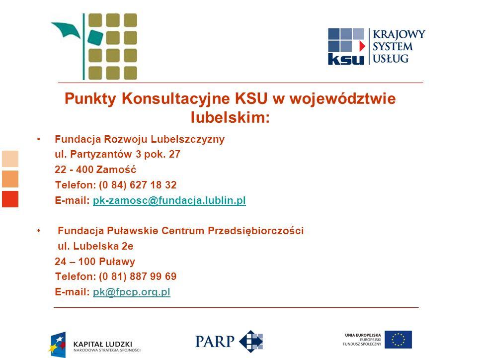Logo ośrodka KSU Punkty Konsultacyjne KSU w województwie lubelskim: Fundacja Rozwoju Lubelszczyzny ul. Partyzantów 3 pok. 27 22 - 400 Zamość Telefon: