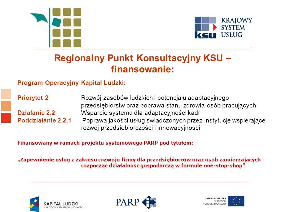 Logo ośrodka KSU Regionalny Punkt Konsultacyjny KSU – finansowanie: Program Operacyjny Kapitał Ludzki: Priorytet 2 Rozwój zasobów ludzkich i potencjał