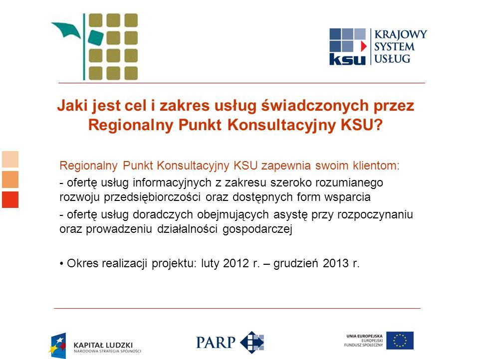 Logo ośrodka KSU Jaki jest cel i zakres usług świadczonych przez Regionalny Punkt Konsultacyjny KSU? Regionalny Punkt Konsultacyjny KSU zapewnia swoim