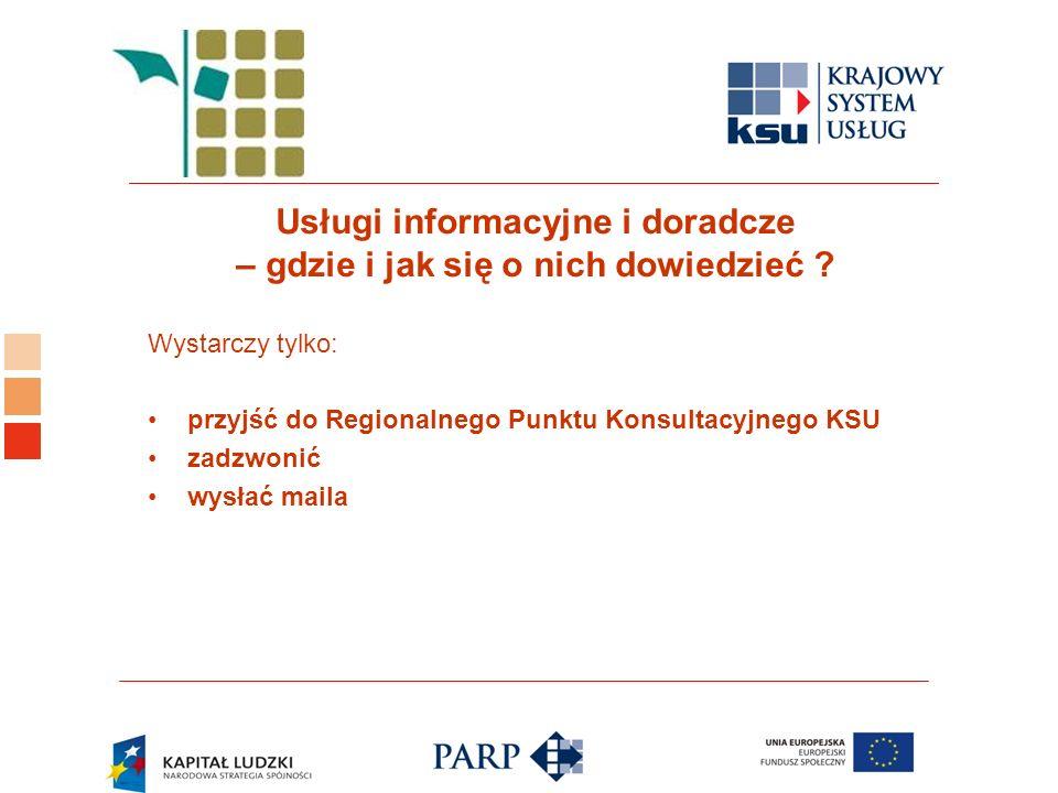 Logo ośrodka KSU Usługi informacyjne i doradcze – gdzie i jak się o nich dowiedzieć ? Wystarczy tylko: przyjść do Regionalnego Punktu Konsultacyjnego