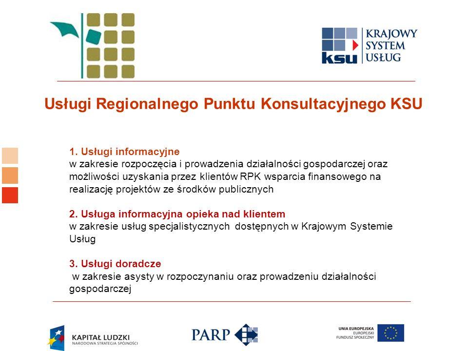 Logo ośrodka KSU 1. Usługi informacyjne w zakresie rozpoczęcia i prowadzenia działalności gospodarczej oraz możliwości uzyskania przez klientów RPK ws