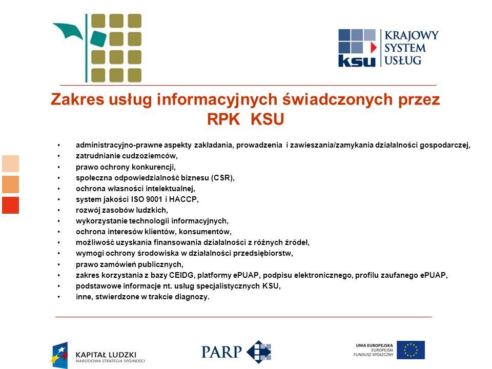 Logo ośrodka KSU administracyjno-prawne aspekty zakładania, prowadzenia i zawieszania/zamykania działalności gospodarczej, zatrudnianie cudzoziemców, prawo ochrony konkurencji, społeczna odpowiedzialność biznesu (CSR), ochrona własności intelektualnej, system jakości ISO 9001 i HACCP, rozwój zasobów ludzkich, wykorzystanie technologii informacyjnych, ochrona interesów klientów, konsumentów, możliwość uzyskania finansowania działalności z różnych źródeł, wymogi ochrony środowiska w działalności przedsiębiorstw, prawo zamówień publicznych, zakres korzystania z bazy CEIDG, platformy ePUAP, podpisu elektronicznego, profilu zaufanego ePUAP, podstawowe informacje nt.
