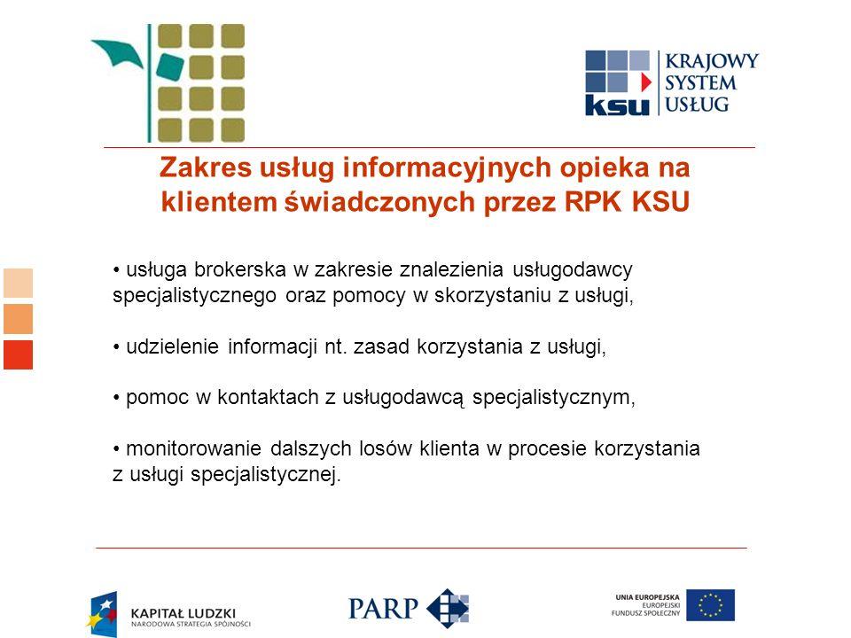 Logo ośrodka KSU Zakres usług informacyjnych opieka na klientem świadczonych przez RPK KSU usługa brokerska w zakresie znalezienia usługodawcy specjalistycznego oraz pomocy w skorzystaniu z usługi, udzielenie informacji nt.