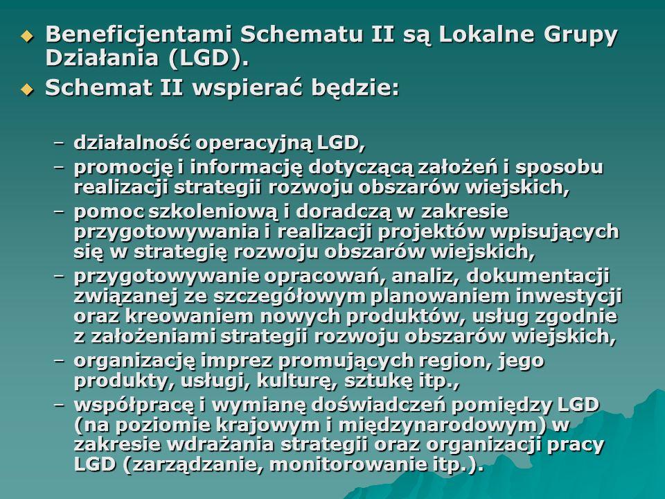  Beneficjentami Schematu II są Lokalne Grupy Działania (LGD).