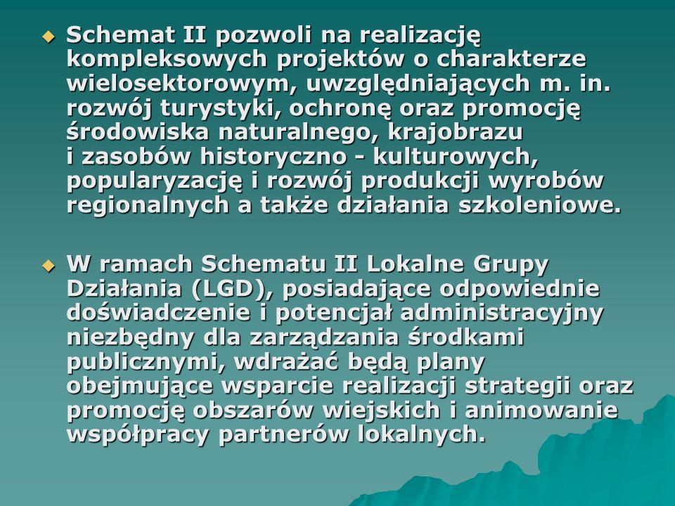  Schemat II pozwoli na realizację kompleksowych projektów o charakterze wielosektorowym, uwzględniających m.