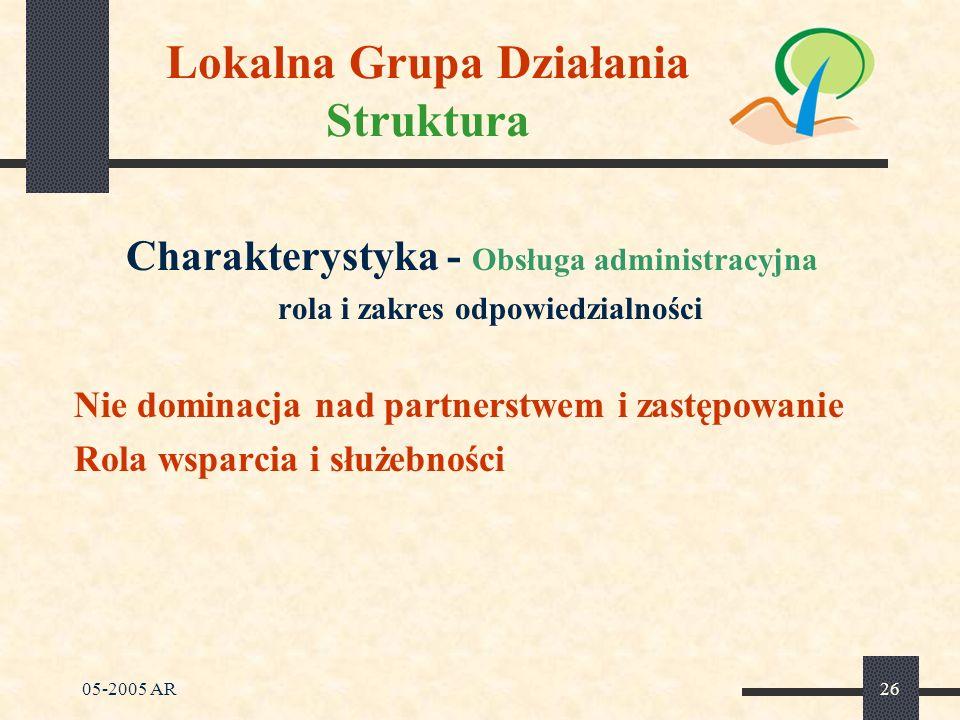 05-2005 AR26 Lokalna Grupa Działania Struktura Charakterystyka - Obsługa administracyjna rola i zakres odpowiedzialności Nie dominacja nad partnerstwem i zastępowanie Rola wsparcia i służebności