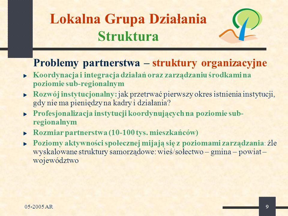 05-2005 AR9 Lokalna Grupa Działania Struktura Problemy partnerstwa – struktury organizacyjne Koordynacja i integracja działań oraz zarządzaniu środkami na poziomie sub-regionalnym Rozwój instytucjonalny: jak przetrwać pierwszy okres istnienia instytucji, gdy nie ma pieniędzy na kadry i działania.