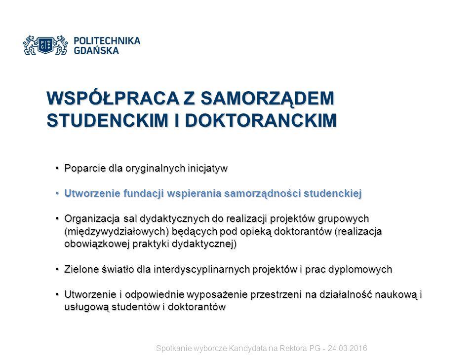 WSPÓŁPRACA Z SAMORZĄDEM STUDENCKIM I DOKTORANCKIM Poparcie dla oryginalnych inicjatywPoparcie dla oryginalnych inicjatyw Utworzenie fundacji wspierania samorządności studenckiejUtworzenie fundacji wspierania samorządności studenckiej Organizacja sal dydaktycznych do realizacji projektów grupowych (międzywydziałowych) będących pod opieką doktorantów (realizacja obowiązkowej praktyki dydaktycznej)Organizacja sal dydaktycznych do realizacji projektów grupowych (międzywydziałowych) będących pod opieką doktorantów (realizacja obowiązkowej praktyki dydaktycznej) Zielone światło dla interdyscyplinarnych projektów i prac dyplomowychZielone światło dla interdyscyplinarnych projektów i prac dyplomowych Utworzenie i odpowiednie wyposażenie przestrzeni na działalność naukową i usługową studentów i doktorantówUtworzenie i odpowiednie wyposażenie przestrzeni na działalność naukową i usługową studentów i doktorantów Spotkanie wyborcze Kandydata na Rektora PG - 24.03.2016