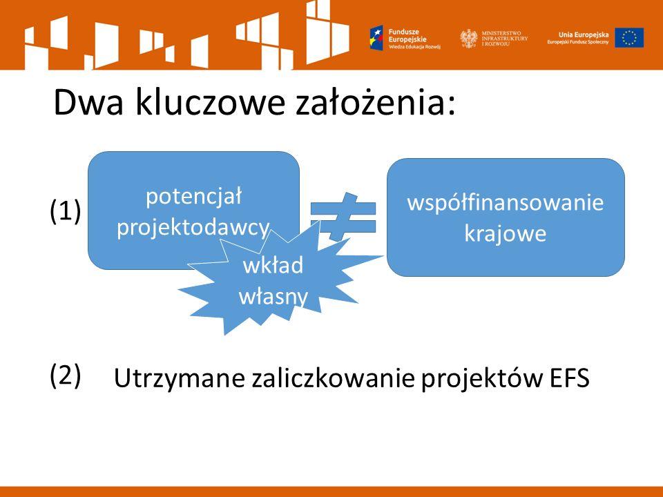 Dwa kluczowe założenia: (1) (2) Utrzymane zaliczkowanie projektów EFS potencjał projektodawcy wkład własny współfinansowanie krajowe
