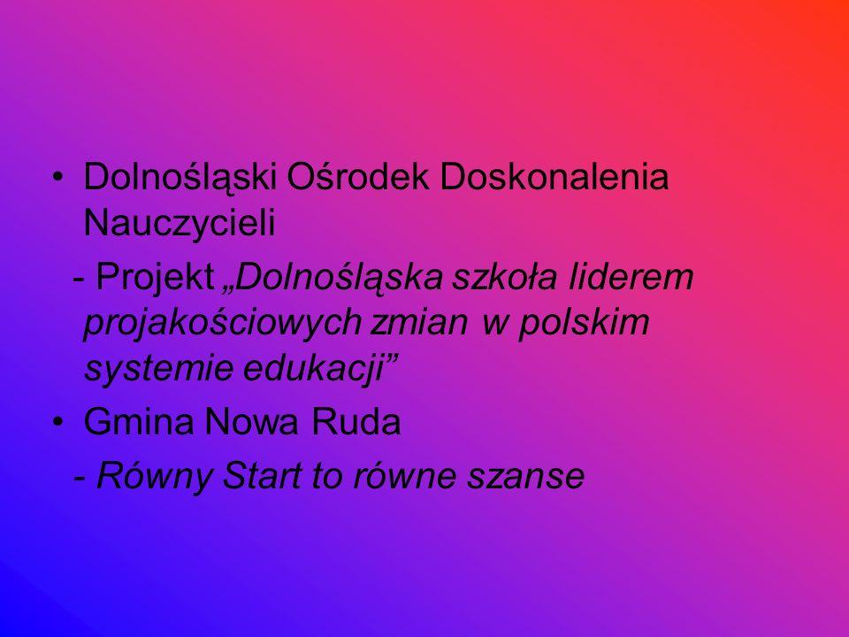 """Dolnośląski Ośrodek Doskonalenia Nauczycieli - Projekt """"Dolnośląska szkoła liderem projakościowych zmian w polskim systemie edukacji Gmina Nowa Ruda - Równy Start to równe szanse"""