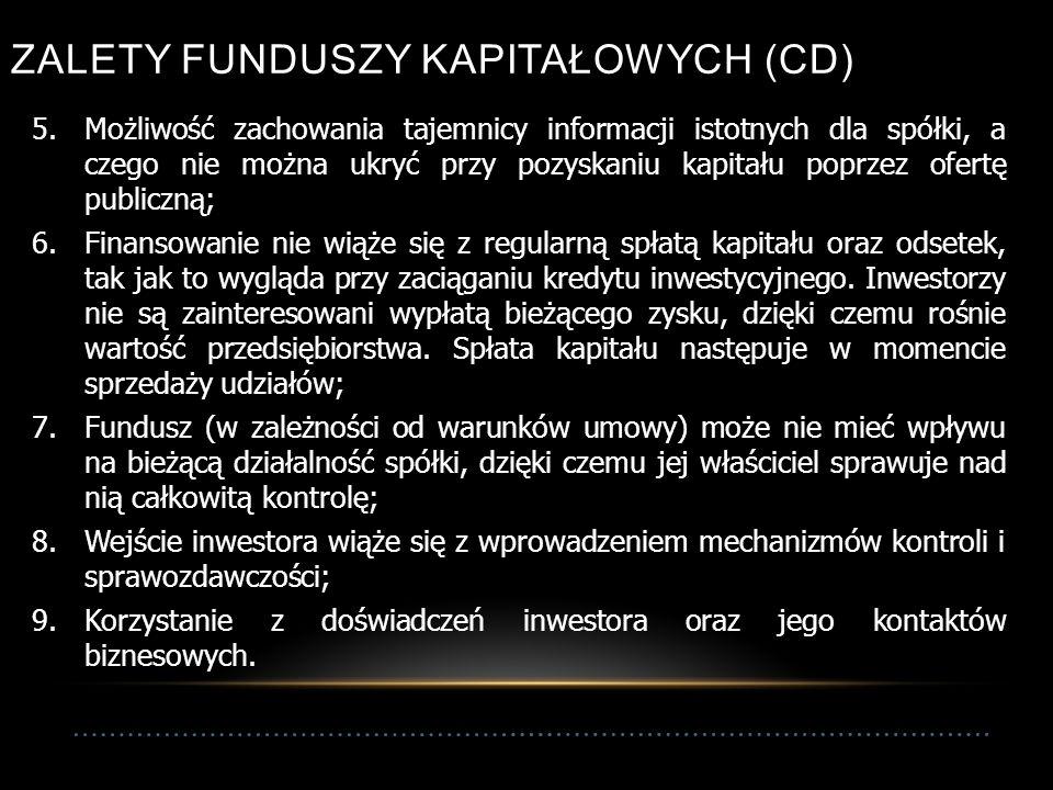 19 ZALETY FUNDUSZY KAPITAŁOWYCH (CD) 5.Możliwość zachowania tajemnicy informacji istotnych dla spółki, a czego nie można ukryć przy pozyskaniu kapitału poprzez ofertę publiczną; 6.Finansowanie nie wiąże się z regularną spłatą kapitału oraz odsetek, tak jak to wygląda przy zaciąganiu kredytu inwestycyjnego.