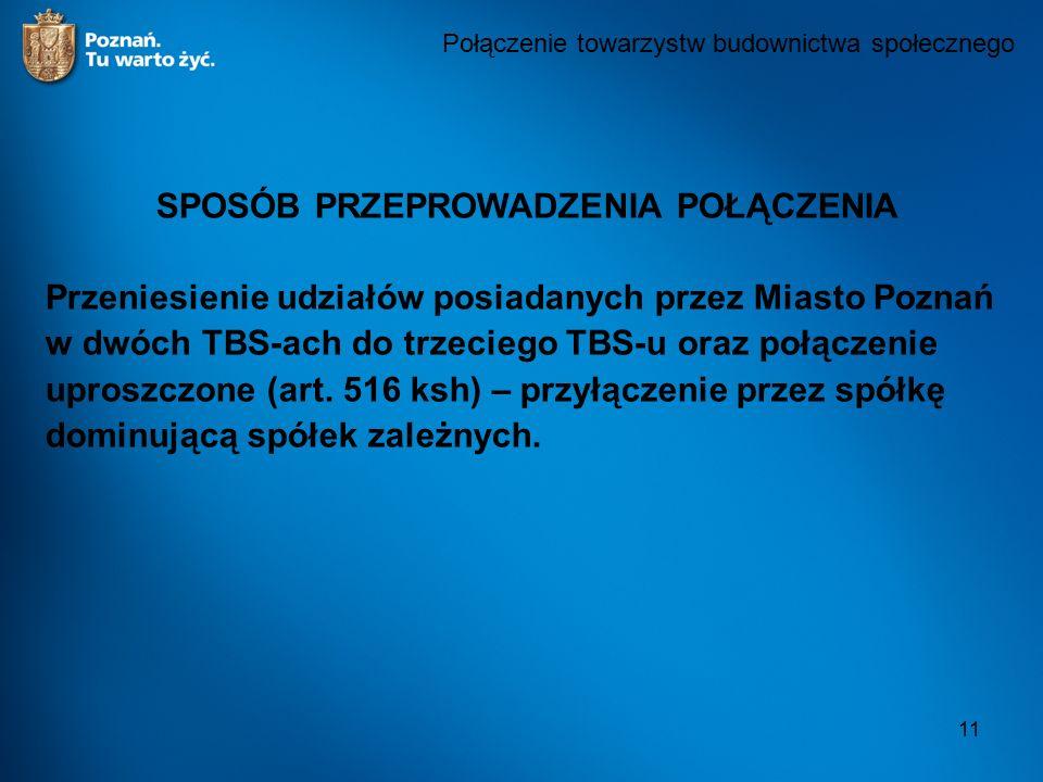 11 Połączenie towarzystw budownictwa społecznego SPOSÓB PRZEPROWADZENIA POŁĄCZENIA Przeniesienie udziałów posiadanych przez Miasto Poznań w dwóch TBS-ach do trzeciego TBS-u oraz połączenie uproszczone (art.