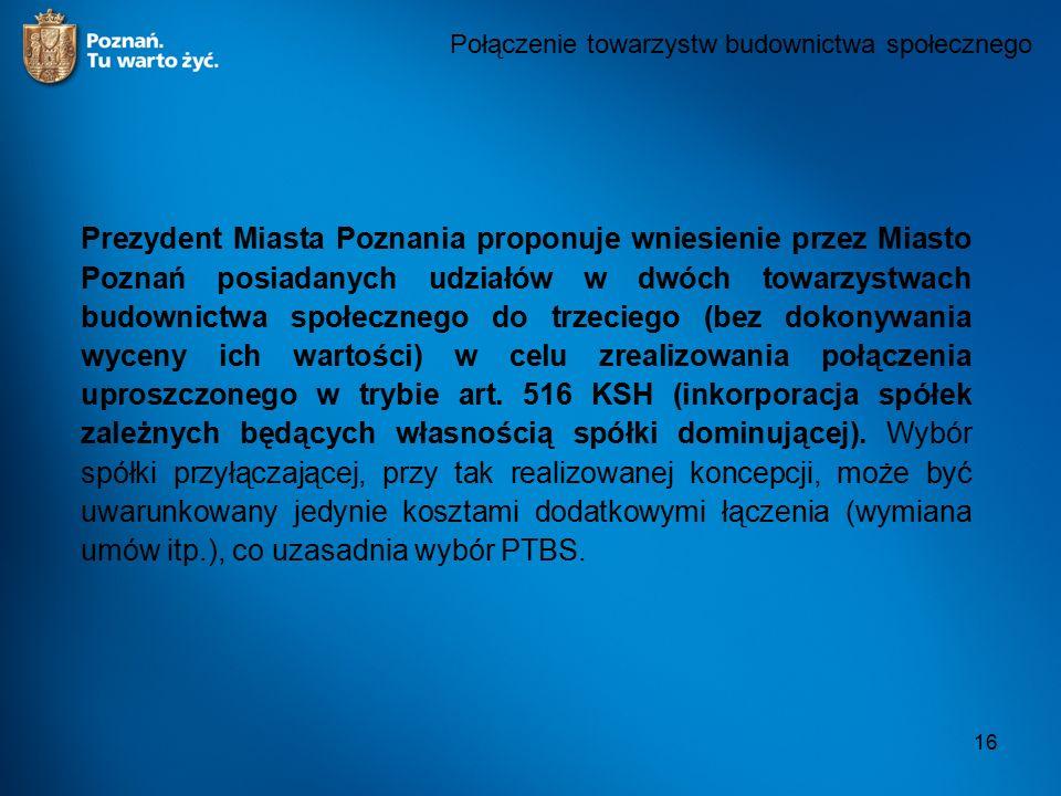 16 Połączenie towarzystw budownictwa społecznego Prezydent Miasta Poznania proponuje wniesienie przez Miasto Poznań posiadanych udziałów w dwóch towarzystwach budownictwa społecznego do trzeciego (bez dokonywania wyceny ich wartości) w celu zrealizowania połączenia uproszczonego w trybie art.