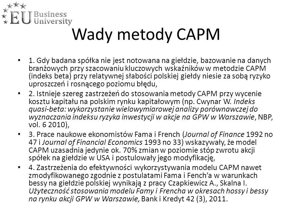 Wady metody CAPM 1.