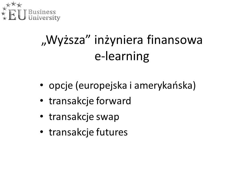 """Wyższa inżyniera finansowa e-learning opcje (europejska i amerykańska) transakcje forward transakcje swap transakcje futures"