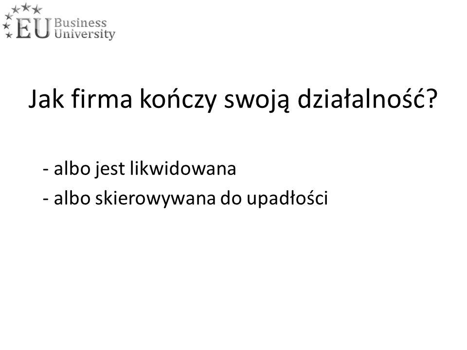 Likwidacja firmy a upadłość Kiedy firmę likwidujemy.