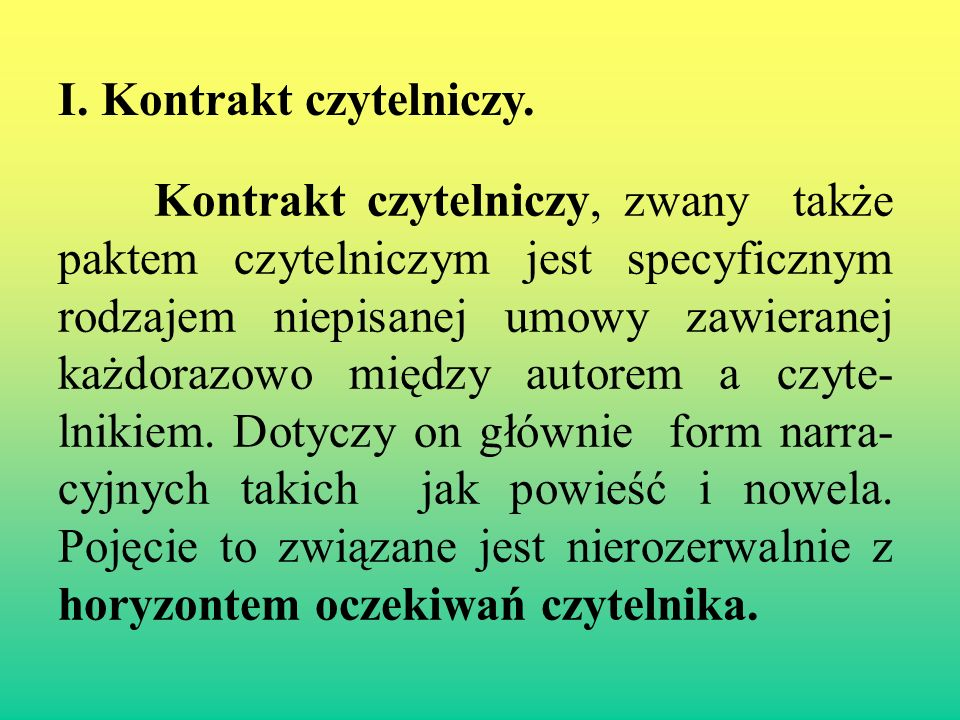 II.Paratekst - Tytuł. Funkcja opisowa.