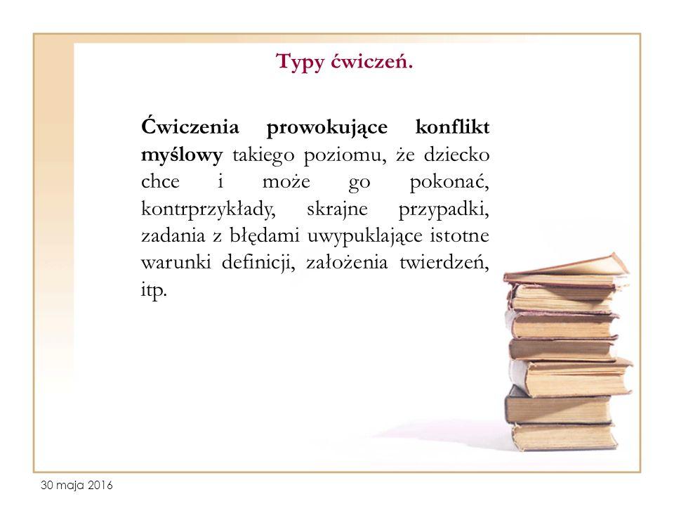 30 maja 2016 Typy ćwiczeń.