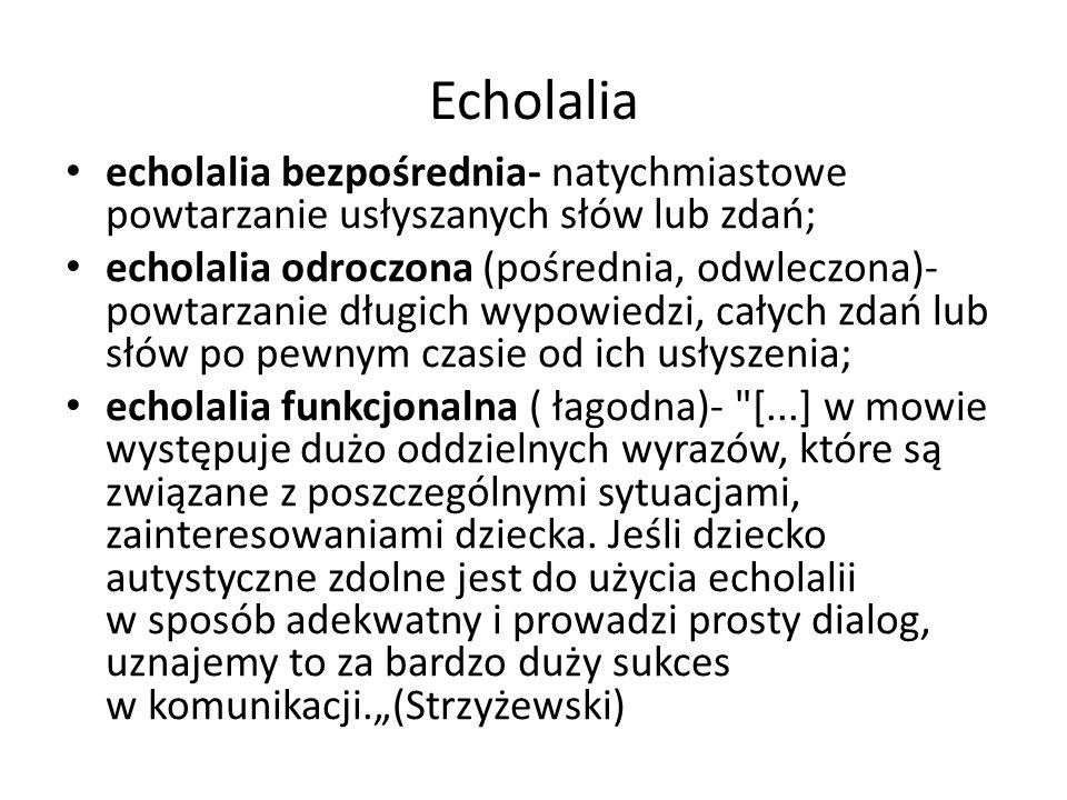 Echolalia echolalia bezpośrednia- natychmiastowe powtarzanie usłyszanych słów lub zdań; echolalia odroczona (pośrednia, odwleczona)- powtarzanie długi