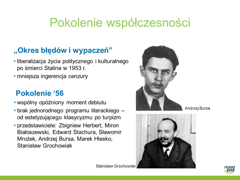 """Pokolenie współczesności """"Okres błędów i wypaczeń"""" liberalizacja życia politycznego i kulturalnego po śmierci Stalina w 1953 r. mniejsza ingerencja ce"""