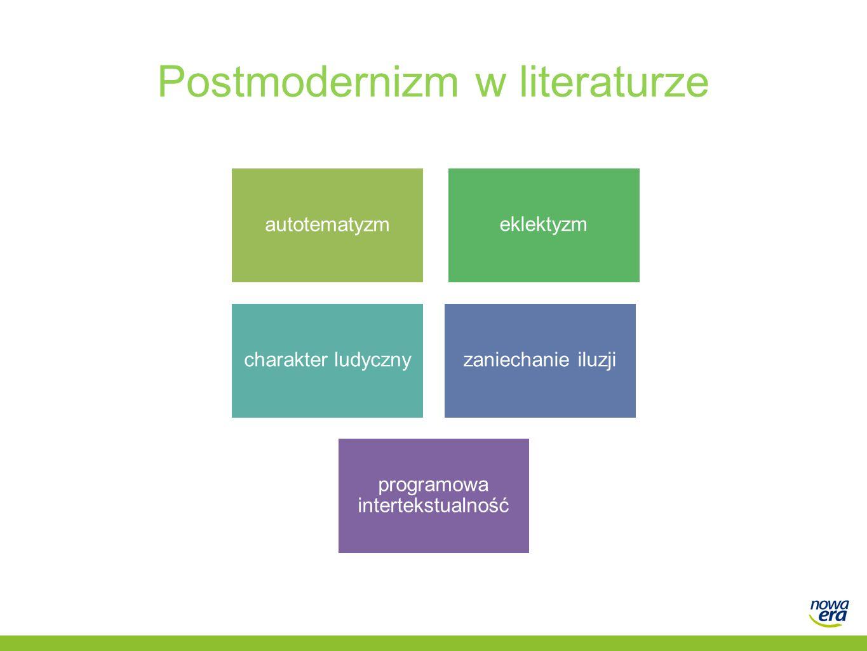Postmodernizm w literaturze autotematyzm eklektyzm charakter ludycznyzaniechanie iluzji programowa intertekstualność
