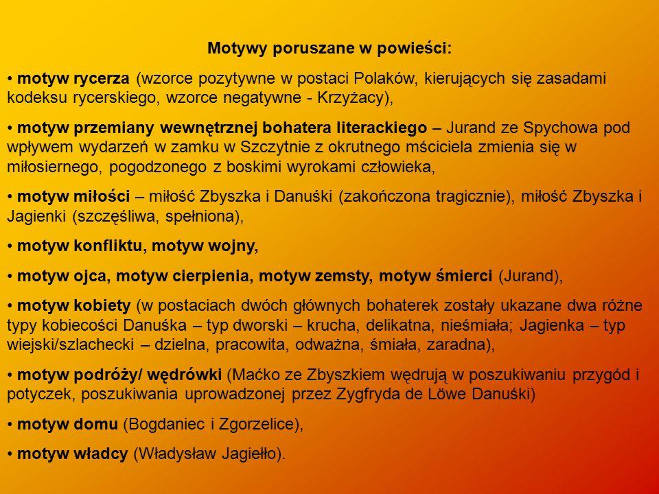 Motywy poruszane w powieści: motyw rycerza (wzorce pozytywne w postaci Polaków, kierujących się zasadami kodeksu rycerskiego, wzorce negatywne - Krzyż