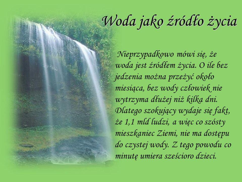 Woda jako źródło życia Nieprzypadkowo mówi się, że woda jest źródłem życia.