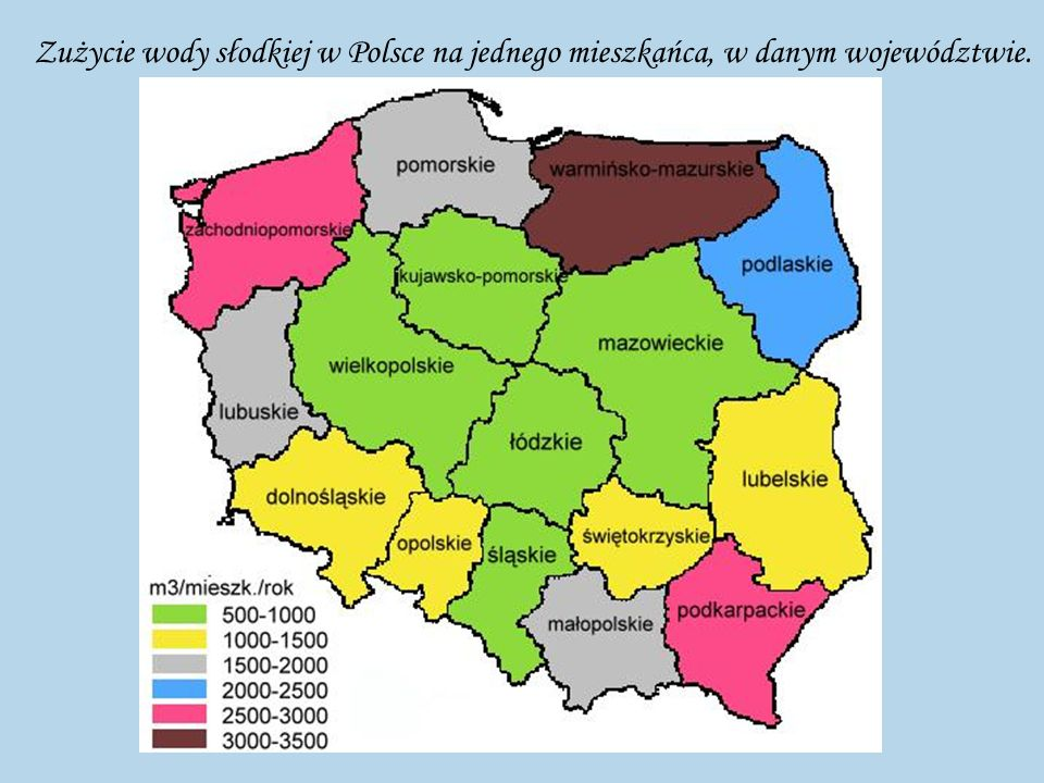 Zużycie wody słodkiej w Polsce na jednego mieszkańca, w danym województwie.