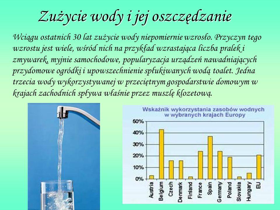 Zużycie wody i jej oszczędzanie Wciągu ostatnich 30 lat zużycie wody niepomiernie wzrosło.