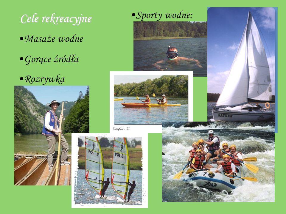 Cele rekreacyjne Sporty wodne: Masaże wodne Gorące źródła Rozrywka